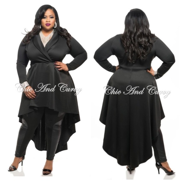 PLUS SIZE Long Sleeve High Low Dress Shirt 1X 2X Boutique